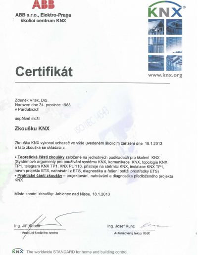 Certifikát KNX