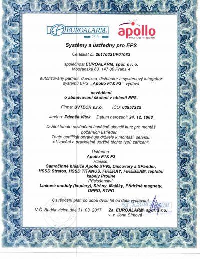 Certifikát APOLLO F1 & F2