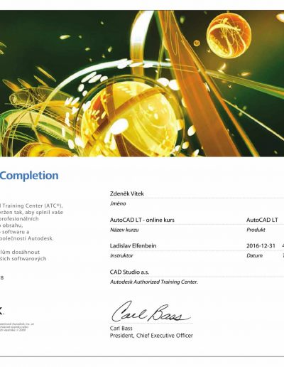 Certifikát AUTOCAD LT
